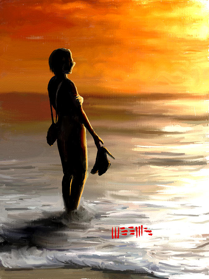 Beach Painting - Beach at Sunset by Dillan Weems