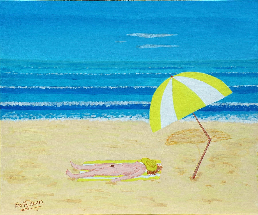 Nude Painting - Beach Babe With All She Needs by Alex Mortensen
