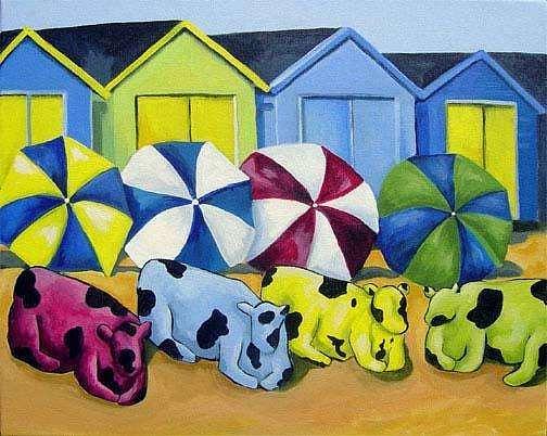 Beach Babes Painting by Karen OLone Hahn