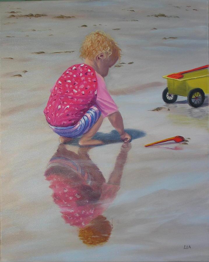 Baby Painting - Beach Baby by Lea Novak