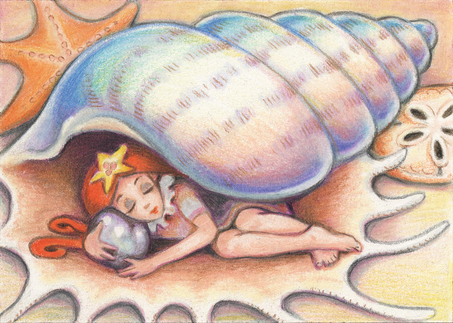 Atc Drawing - Beach Babys Treasure by Amy S Turner