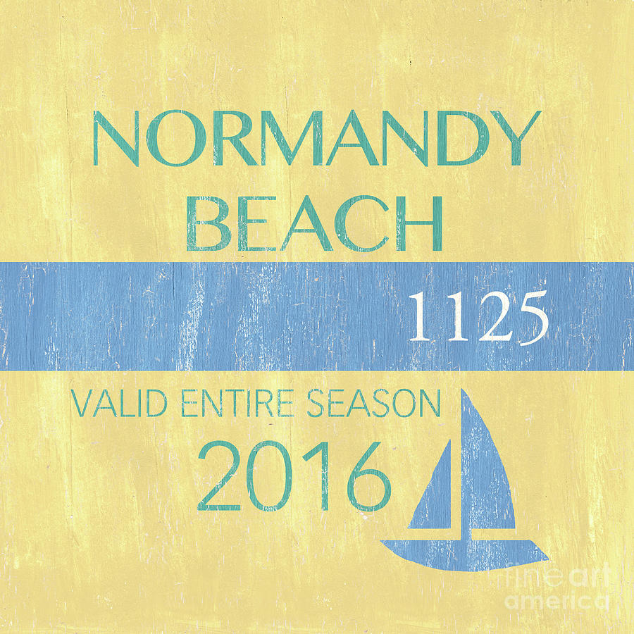 Beach Painting - Beach Badge Normandy Beach 2 by Debbie DeWitt
