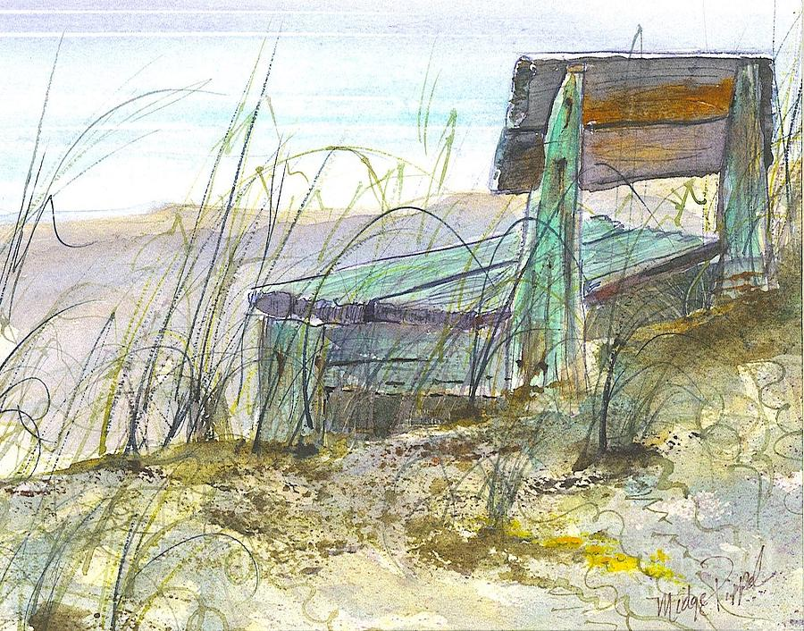 Bench Painting - Beach Bench by Midge Pippel