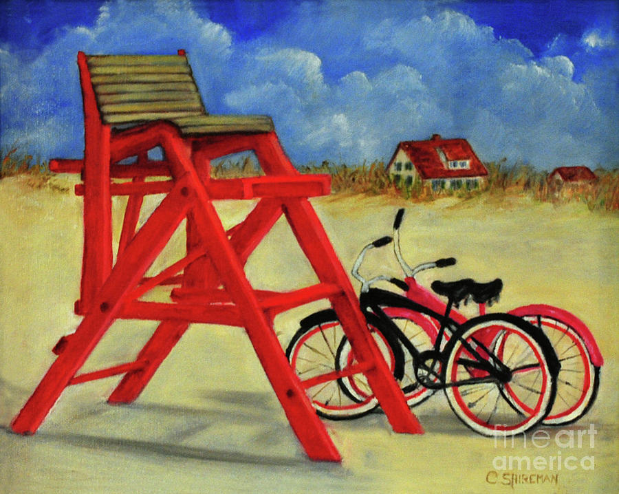 St Augustine Painting - Beach Bikes by Carolyn Shireman