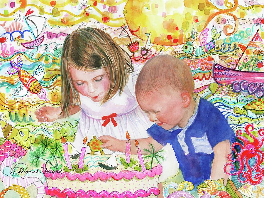 Children Painting - Beach Birthday by Deborah Burow