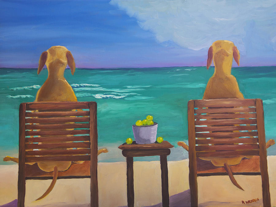 Labrador Painting - Beach Blondes by Roger Wedegis