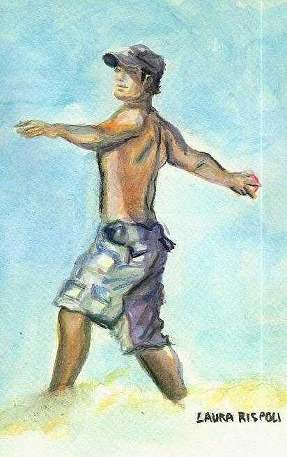 Playing Ball Painting - Beach Boy by Laura Rispoli