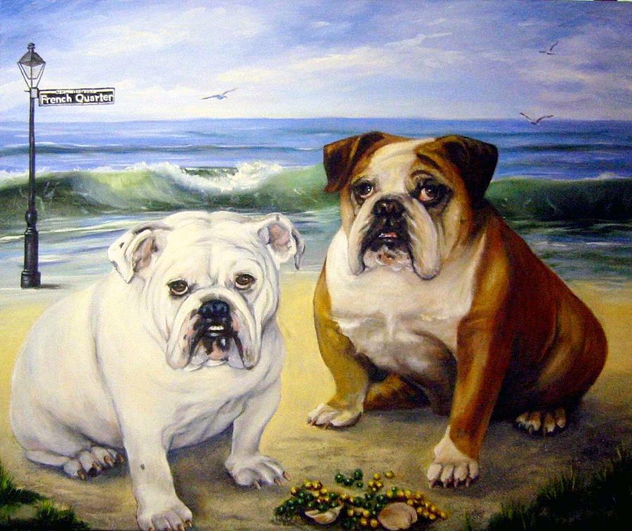English Bull Dogs Painting - Beach Bullies by Anne Kushnick