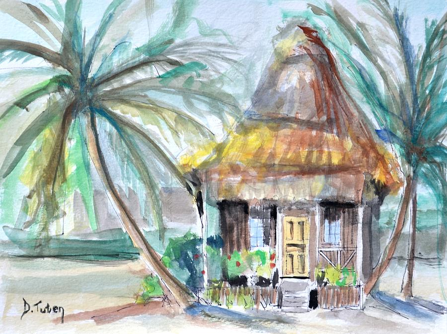 Beach Bungalow Painting By Donna Tuten