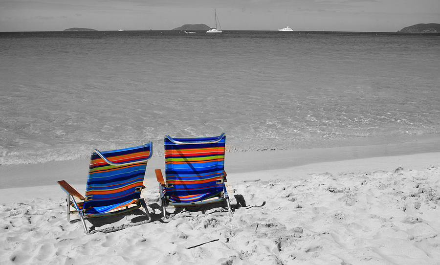 Chair Photograph - Beach Chairs 2  by Perry Webster