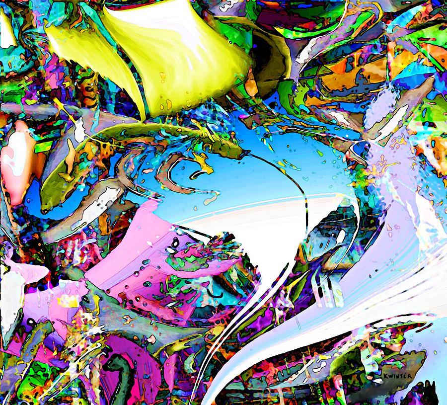 Abstract Digital Art - Beach by Dave Kwinter