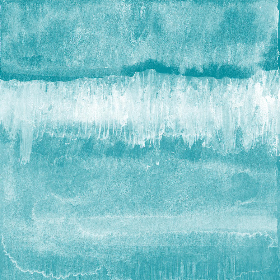 Abstract Mixed Media - Beach Day Blue- Art By Linda Woods by Linda Woods
