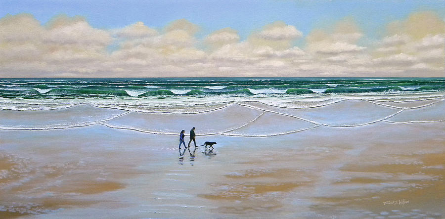 Beach Painting - Beach Dog Walk by Frank Wilson