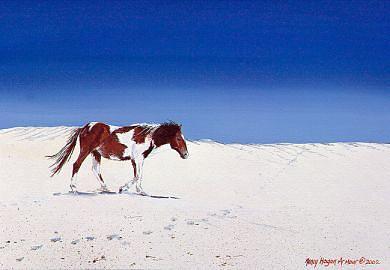 Horse Painting - Beach Dreams by Nancy  Hogan Armour