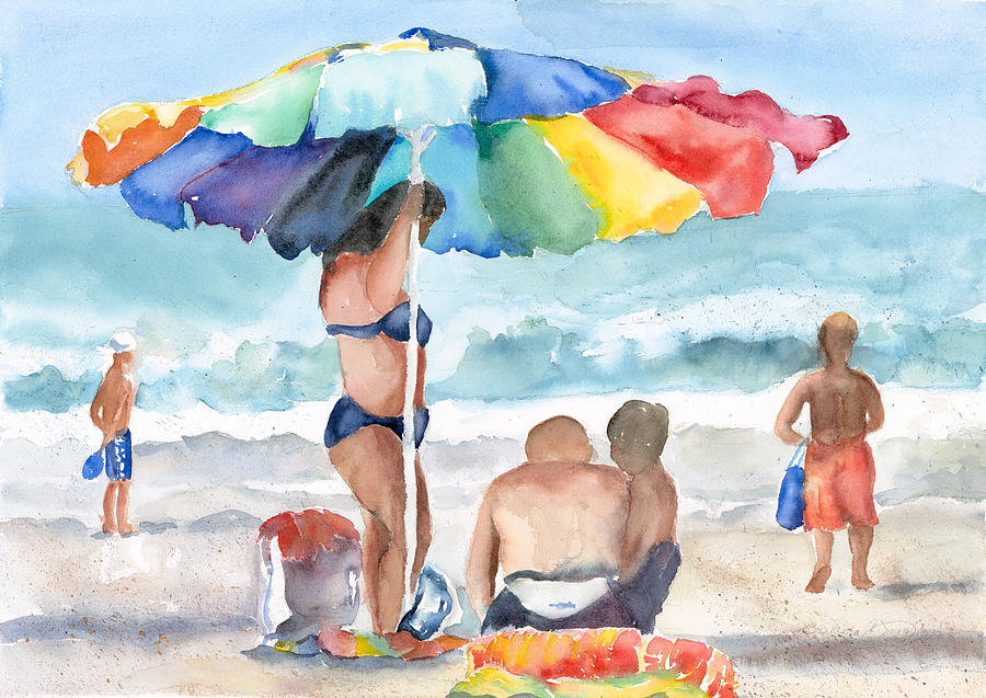 Colorful  Painting - Beach Family by Barbara Jung