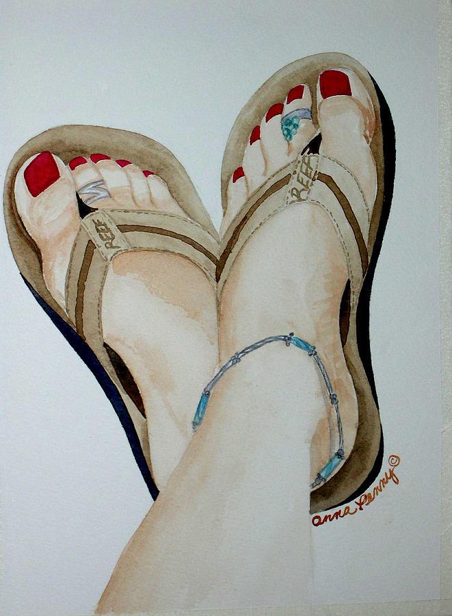 Beach Feet Painting by Anna Penny