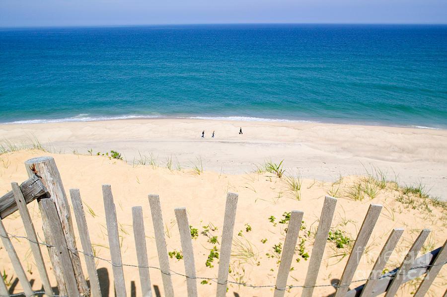 Beach Fence Photograph - beach fence and ocean Cape Cod by Matt Suess
