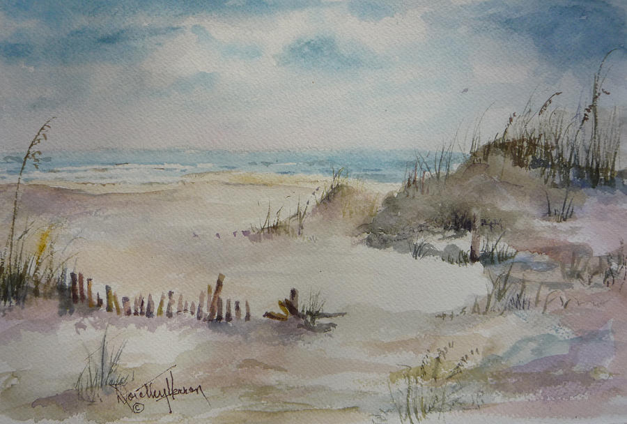 Ocean Painting - Beach Fence by Dorothy Herron