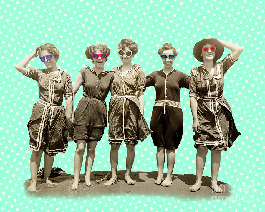 Vintage Mixed Media - Beach Girls by Delphimages Photo Creations