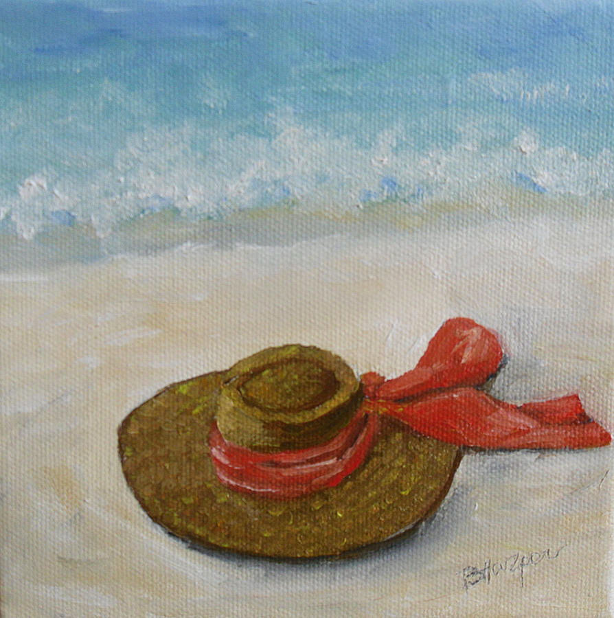 Hat Painting - Beach Hat In The Sand by Barbara Harper