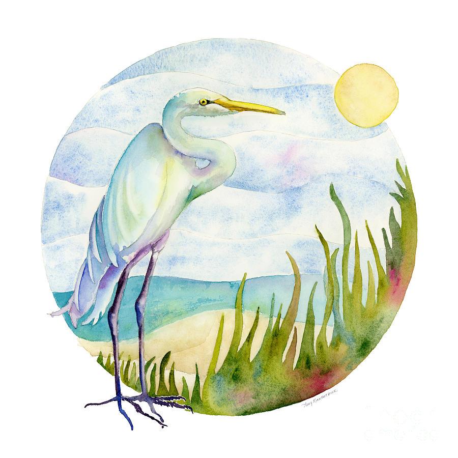 White Bird Painting - Beach Heron by Amy Kirkpatrick