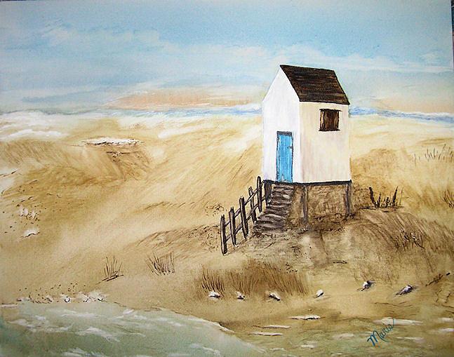 Ocean Painting - Beach House by Maris Sherwood
