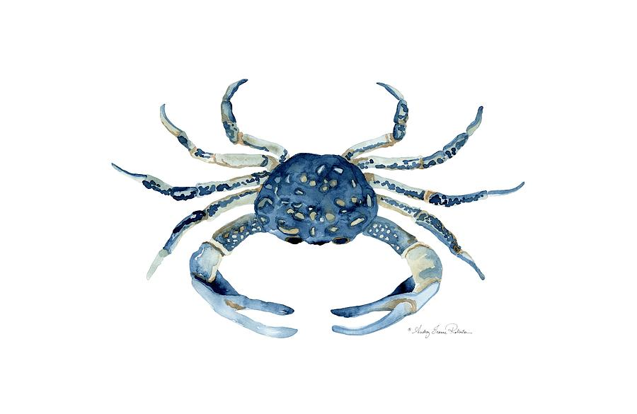Sea Life Painting - Beach House Sea Life Blue Crab by Audrey Jeanne Roberts