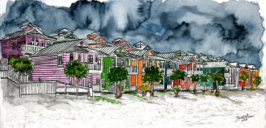 Watercolor Painting - Beach Houses Watercolor Painting by Derek Mccrea