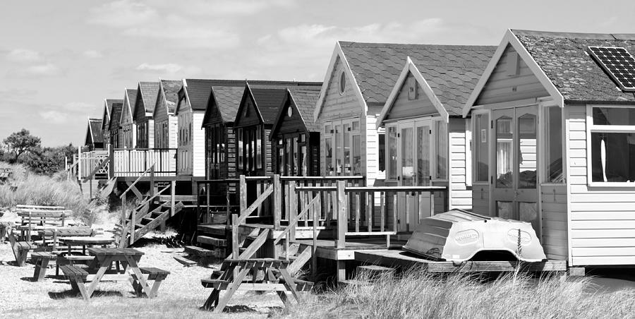 Beach Hut Row Black and White by Mick House