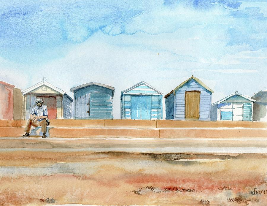 Sea Painting - Beach Huts at brightlingsea by Angelina Whittaker Cook