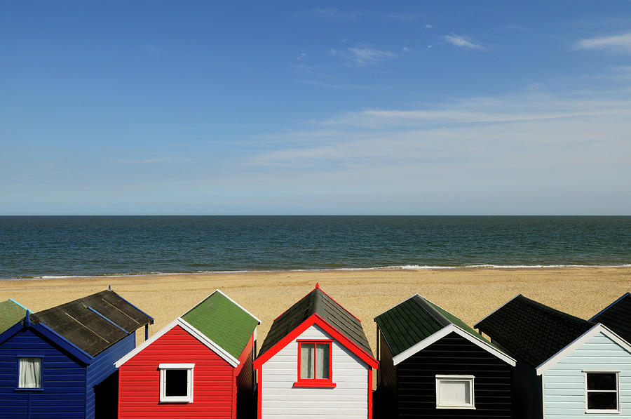 Beach Photograph - Beach Huts At Southwold by Liz Pinchen