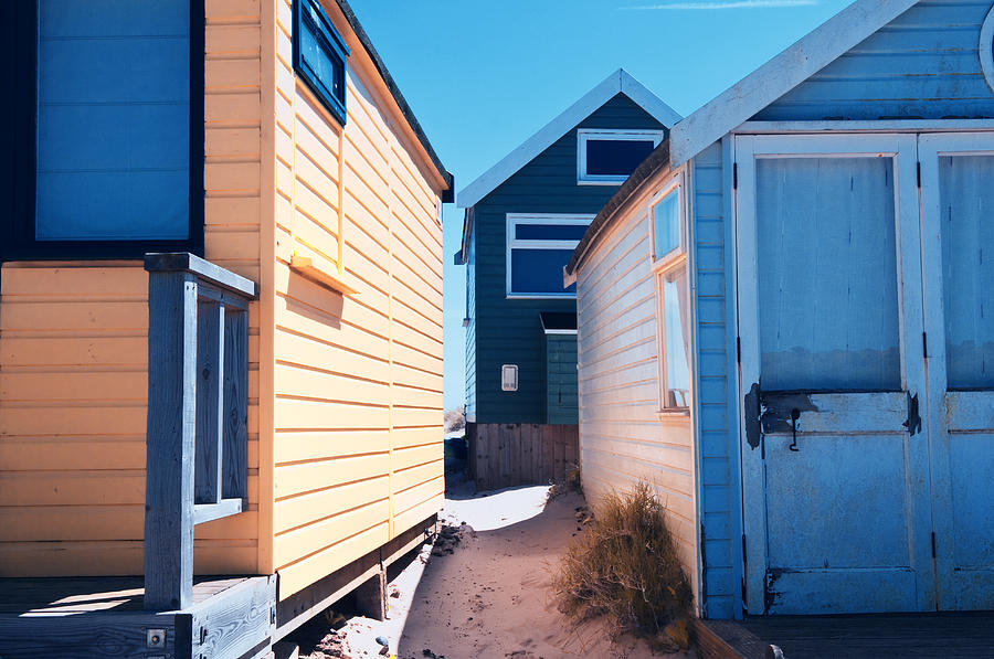 Beach Huts Blue and Orange by Mick House