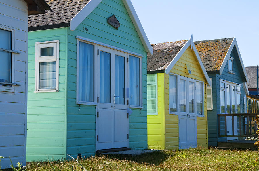 Beach Huts Green and Yellow by Mick House