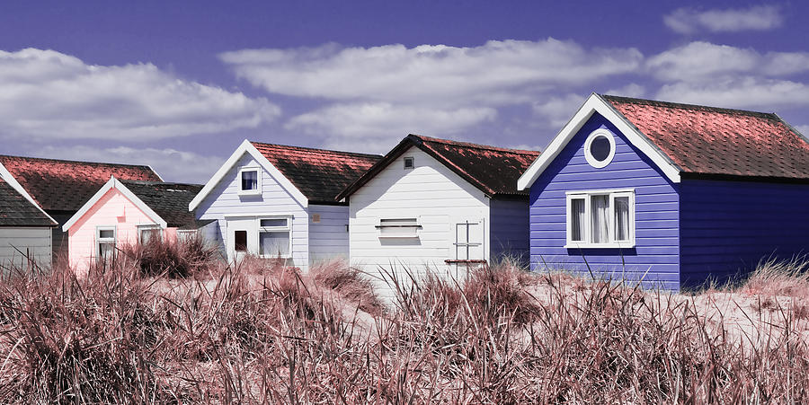 Beach Huts Purple by Mick House