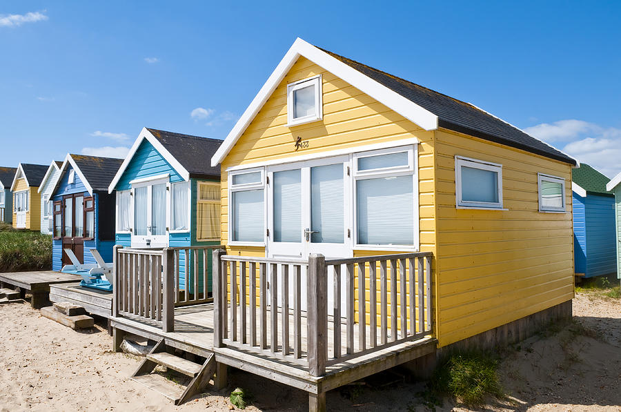 Beach Huts Yellow and Blue by Mick House