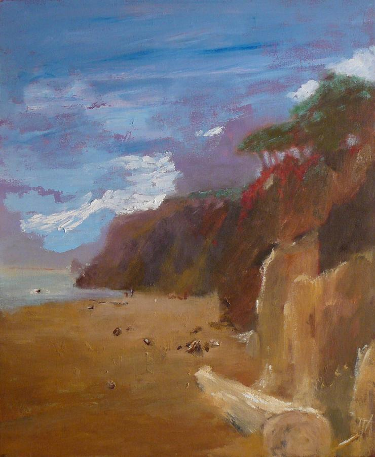 Clouds Painting - Beach In Santa Barbara by Irena  Jablonski