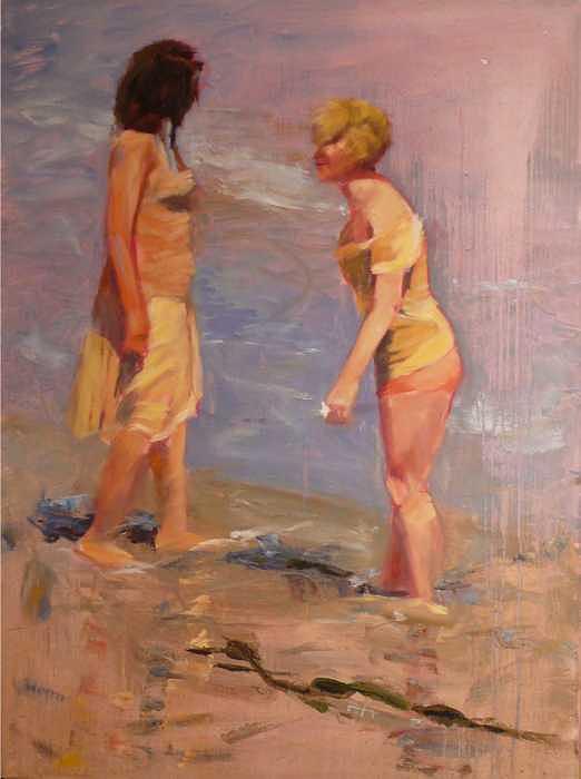Conversation Painting - Beach Inquiries by Irena  Jablonski