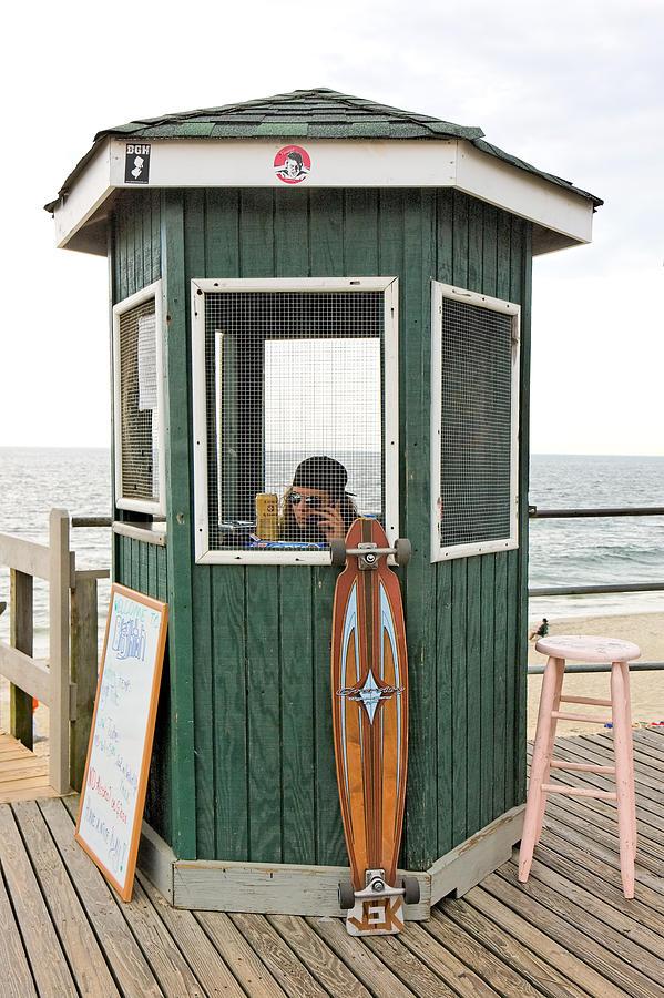 Beach Photograph - Beach Kiosk Long Branch Nj by Eric Levin