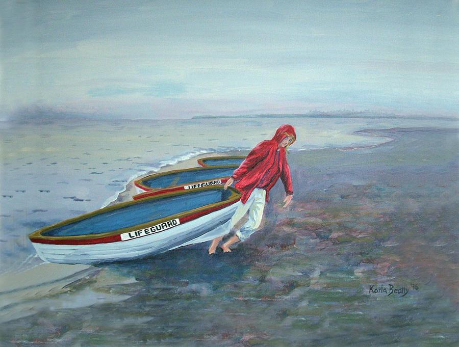 Beach Painting - Beach Lifeguard by Karla Beatty