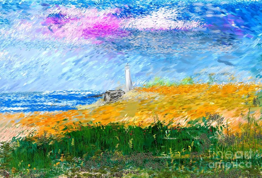Digital Painting Digital Art - Beach Lighthouse by David Lane