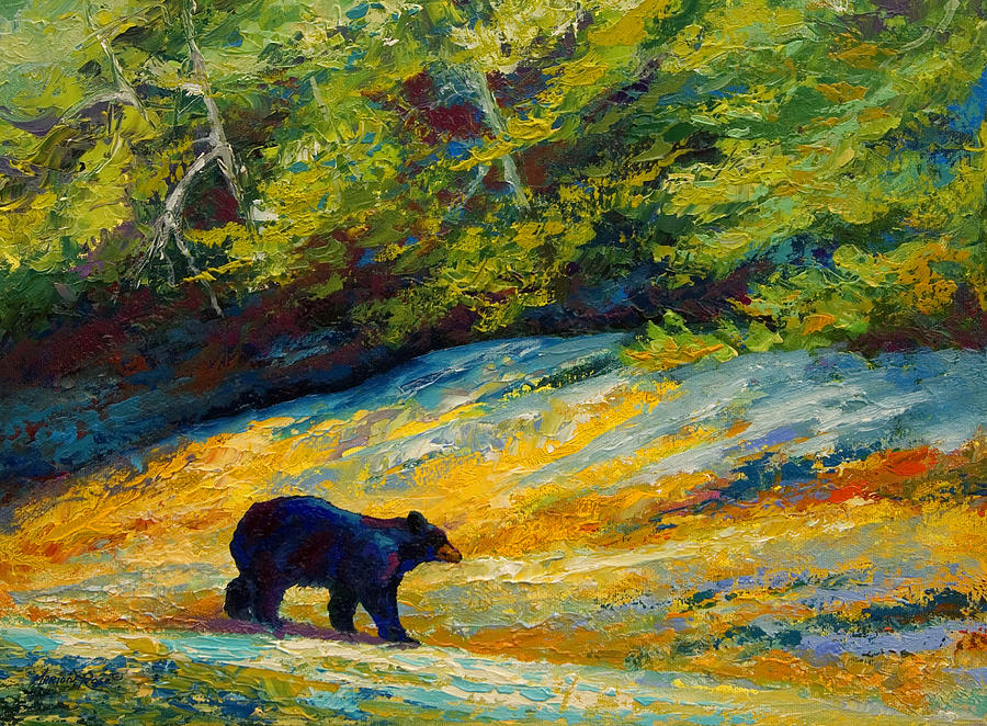 Bear Painting - Beach Lunch - Black Bear by Marion Rose