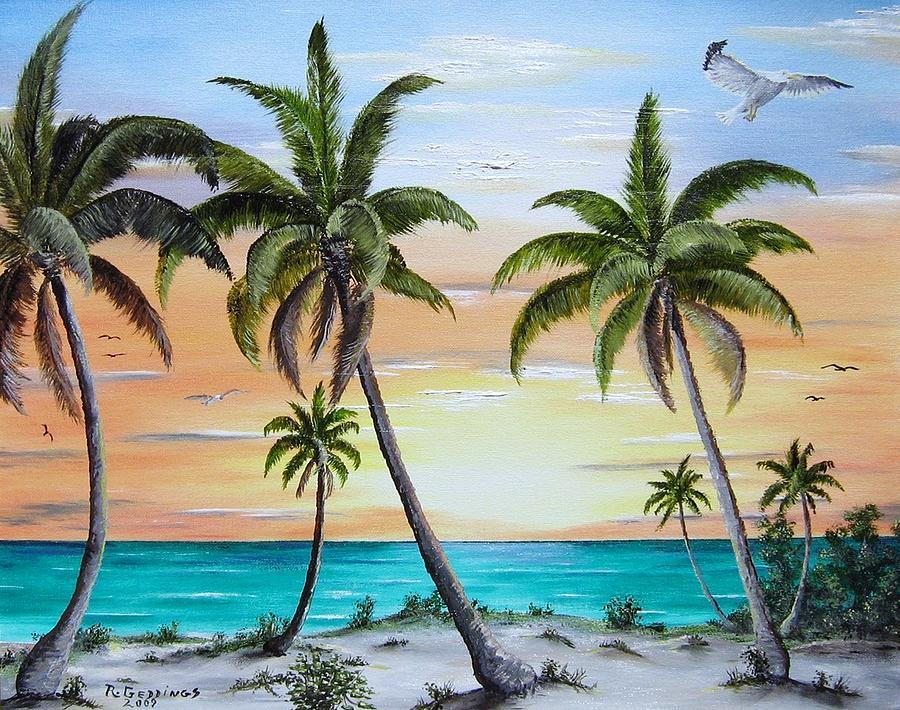 Aqua Painting - Beach Of Palms by Riley Geddings