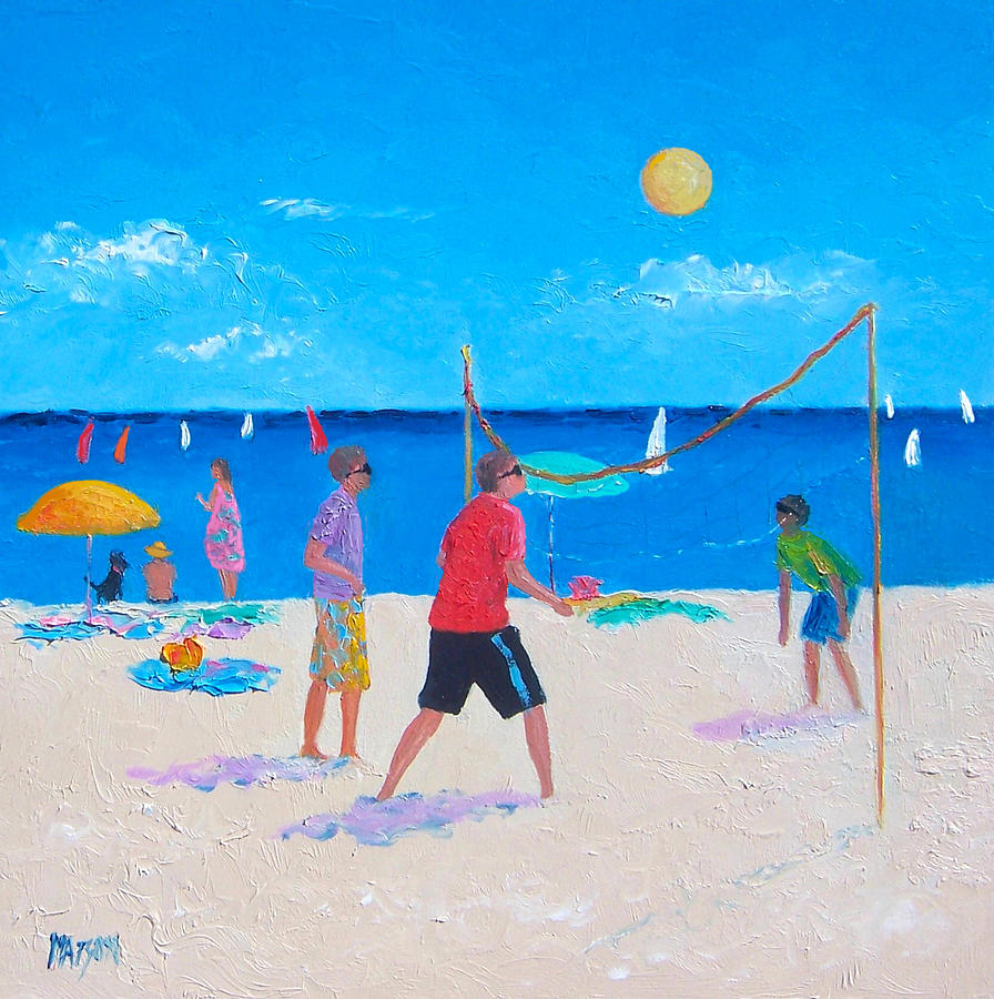 Beach Volleyball Painting - Beach Painting Beach Volleyball  By Jan Matson by Jan Matson