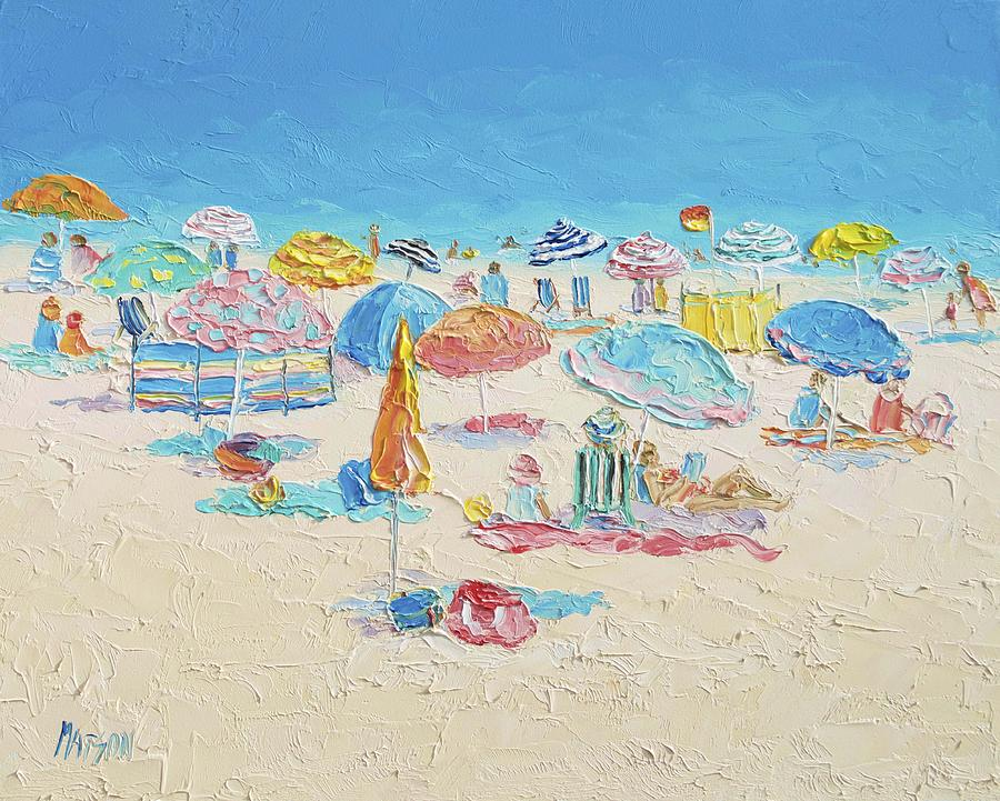 Beach Painting - Beach Painting - Crowded Beach by Jan Matson