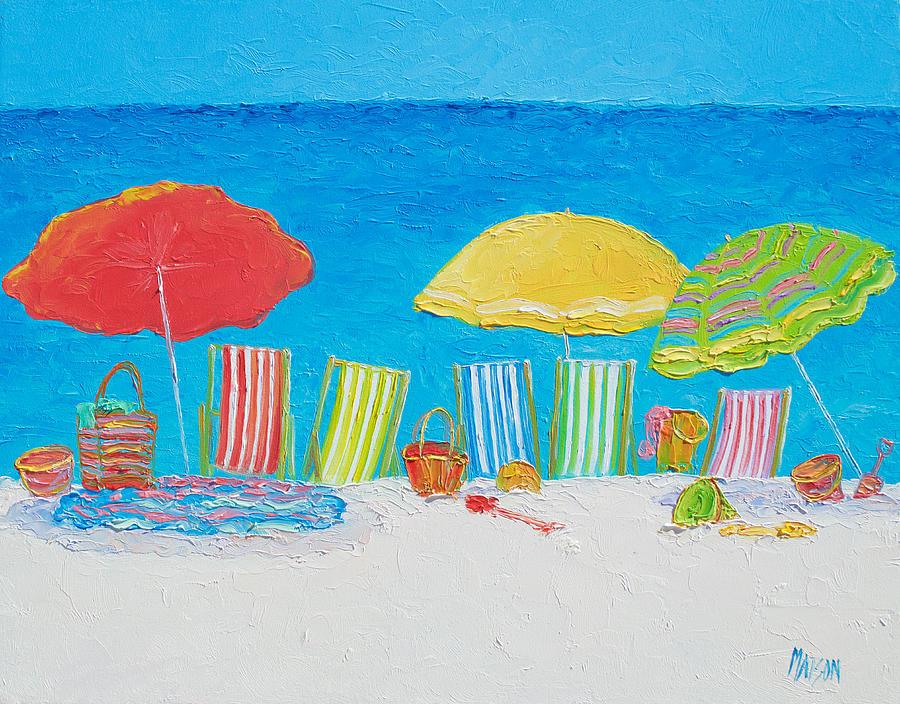 Beach Painting - Beach Painting - Deck Chairs by Jan Matson