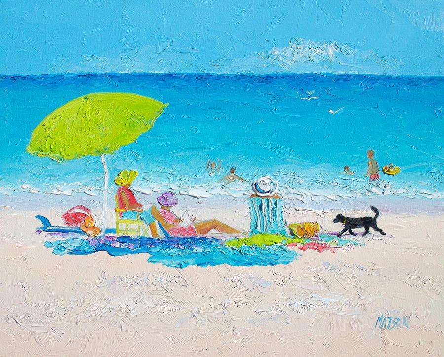Beach Painting - Beach Painting - Lazy Beach Day by Jan Matson