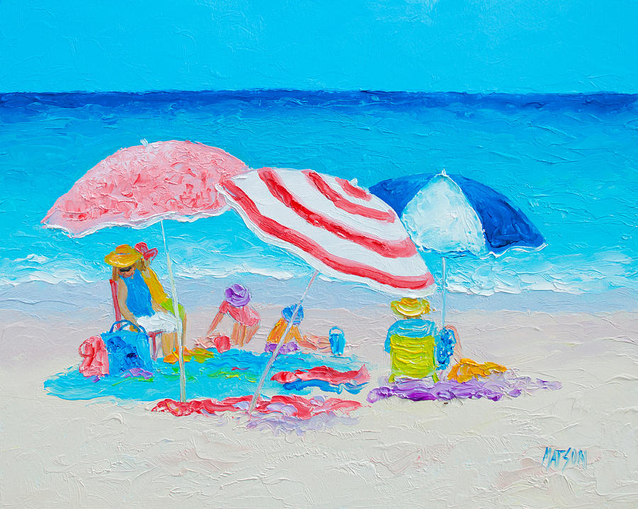 Beach Painting - Beach Painting - Summer Beach Vacation by Jan Matson