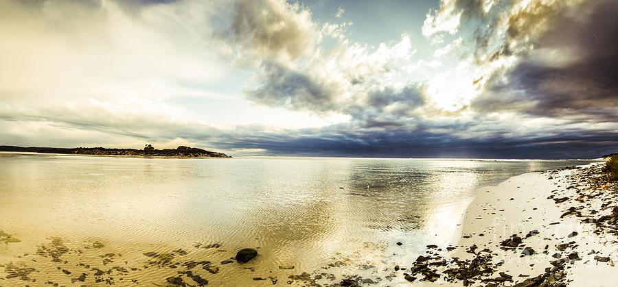 Beach Photograph - Beach Panorama Of A Sunrise Over The Sea by Jorgo Photography - Wall Art Gallery
