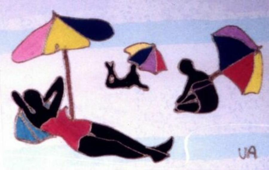 Black Painting - Beach People by Valerie X Armstrong