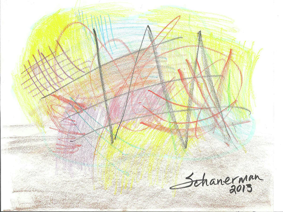 Abstract Drawing - Beach Play 2013 by Susan Schanerman